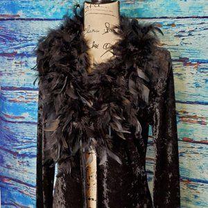 🤟M Studio Long Black Velvety Duster w/ Feathers